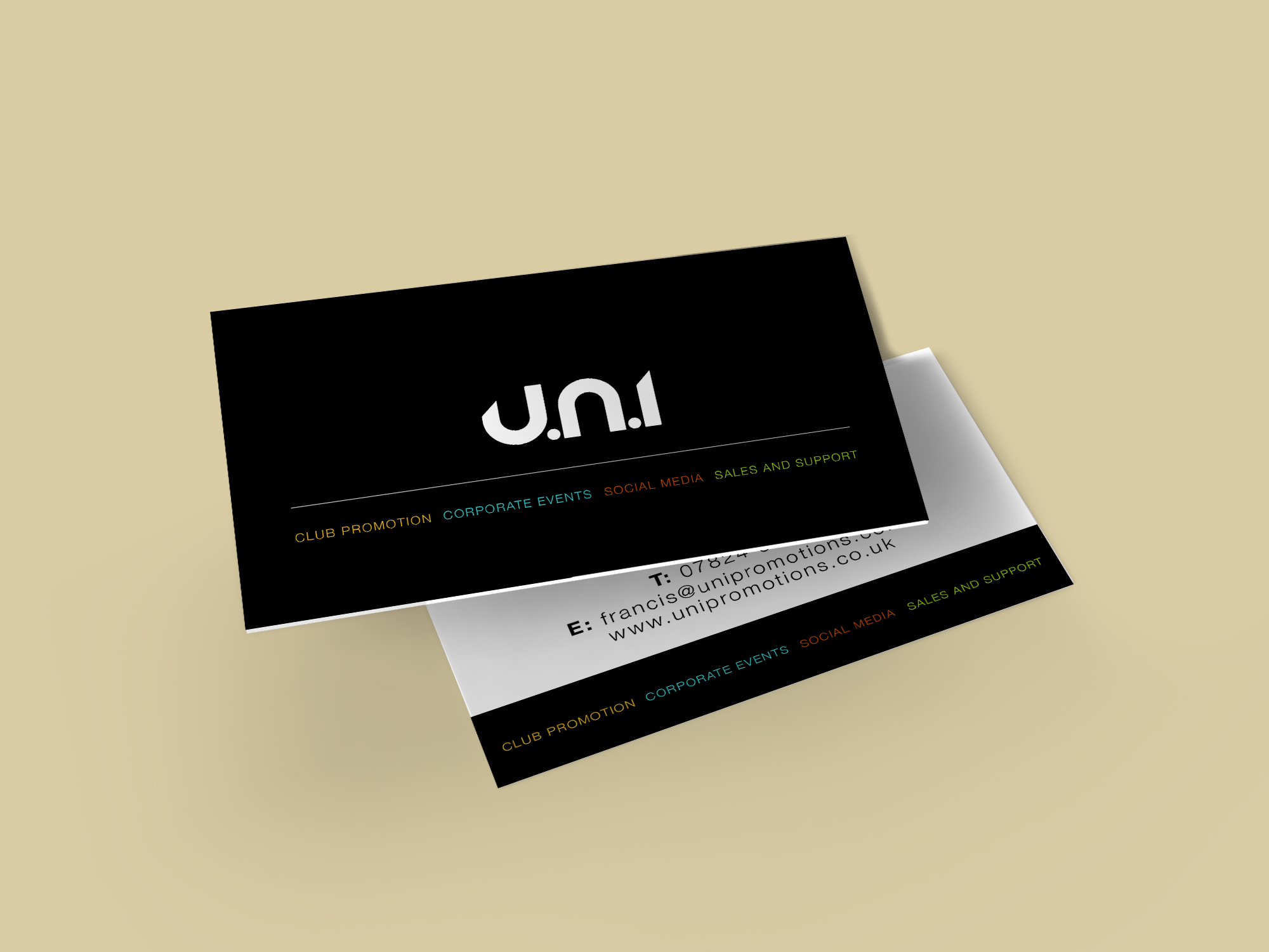 U.ni promotions business cards | Freedom of Creation